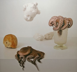 Octopus, 2010, Oil on Photo, 43 x 45 in