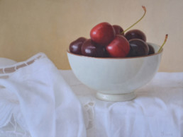 Bowl with cherries, 2016, OOC, 12 x 16 in