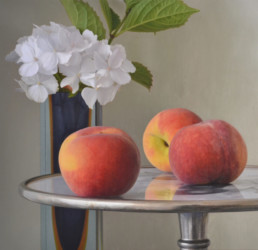 Peaches with Hydrangea, 2012, OOC, 34x35 in